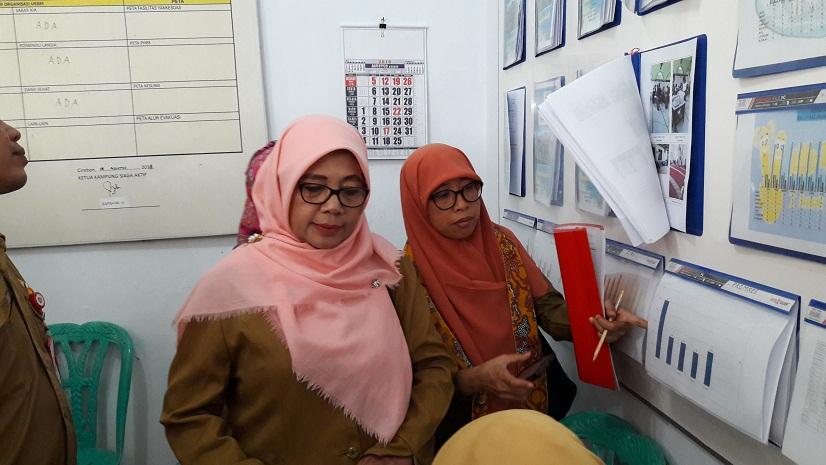 Tim penilai Lomba Kampung Siaga Aktif dari DKK Rina Azizah dan petugas Promkes Puskesmas Larangan Samsiyah